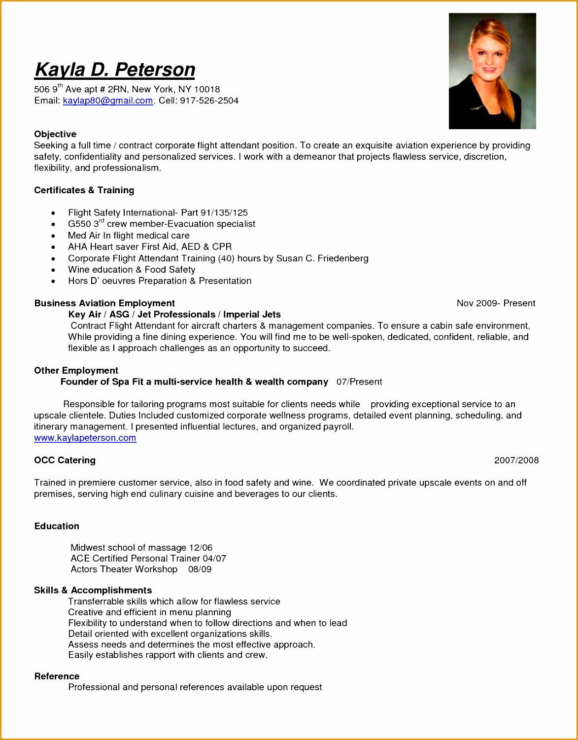 cabin crew objective resume sample