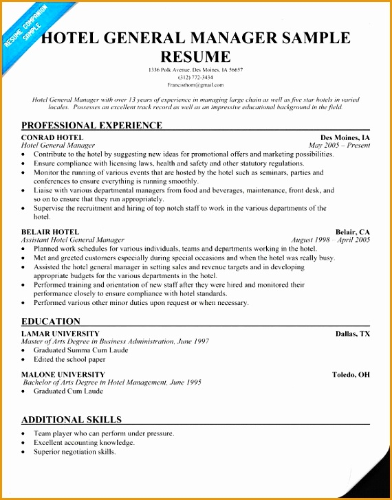 7 Free Hospitality Resume Template Free Samples