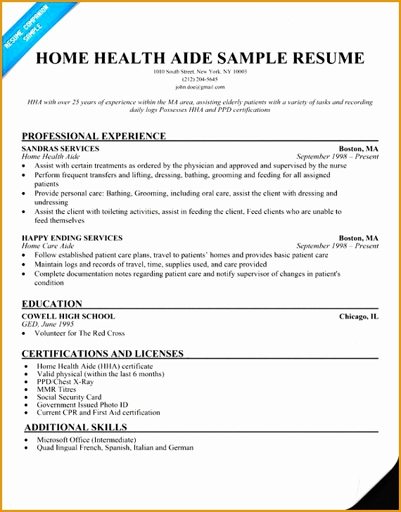 home care aide resume sample