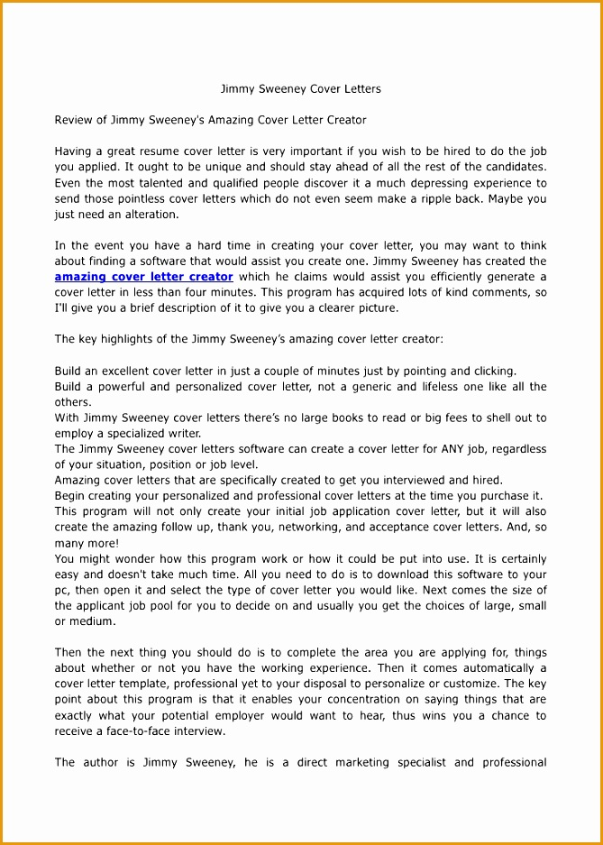 jimmy sweeney cover letter examples