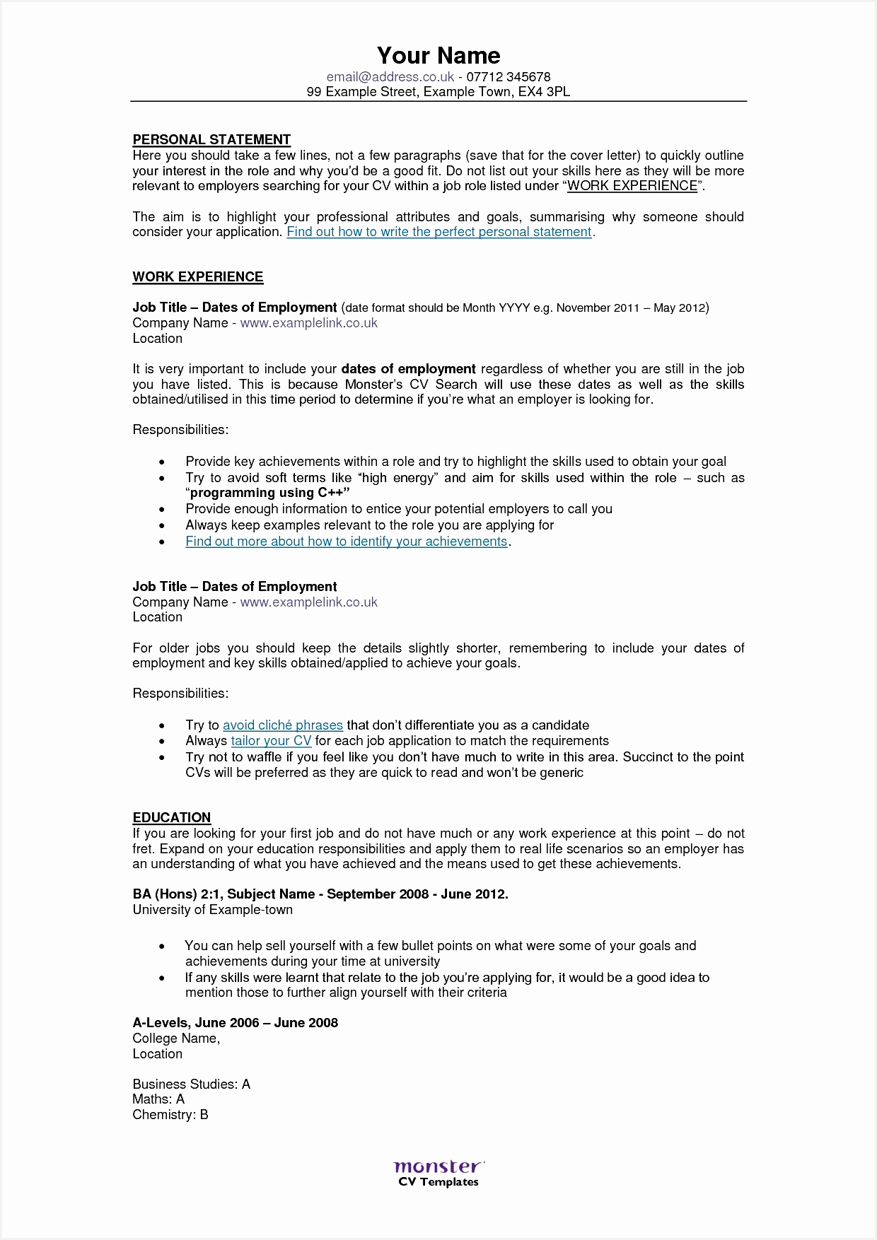6 Cv Template Personal Statement Free Samples Examples