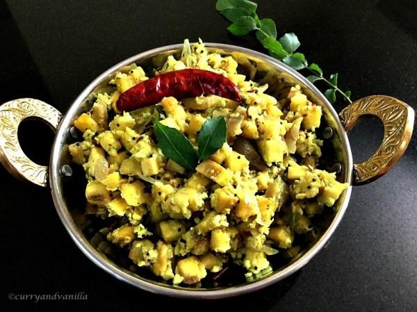 Kela Upkari/Raw Banana Curry (South Indian Style Plantain Stir Fry)