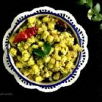 Kela Upkari/Raw Banana Curry (South Indian Style Plantain Stir Fry)