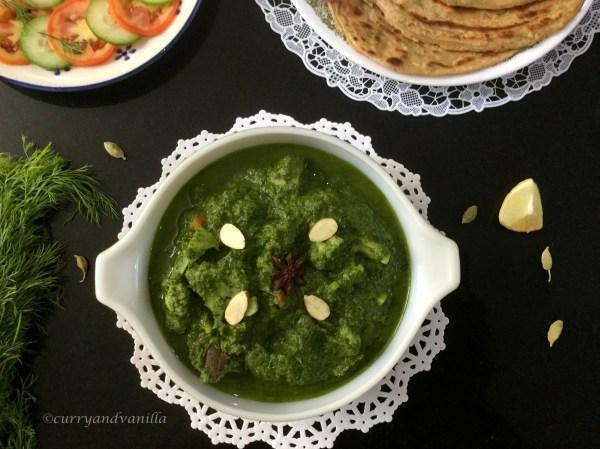 Hara Gobi Masala Curry | Cauliflower in spinach gravy (Vegan)