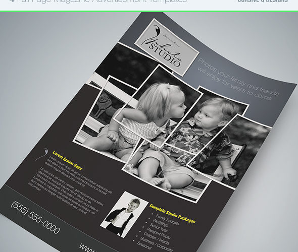 Full Page Magazine Ad or Flyer Templates  Cursive Q Designs