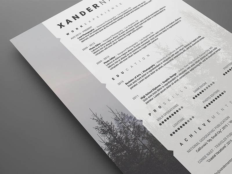 Free Modern Swiss Style Resume CV PSD Template Cursive