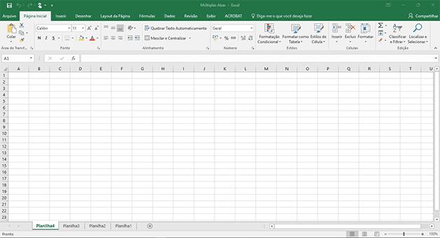 Área de Trabalho do Excel com 04 abas