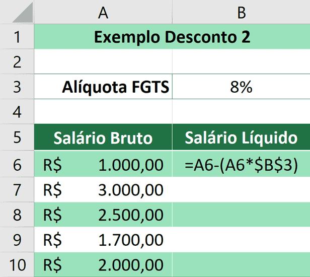 Porcentagem no Excel - Aplicando Desconto 2 - Calculado