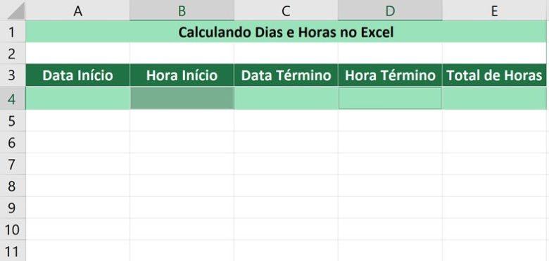 Calculando dias e horas no Excel - Selecionando as horas