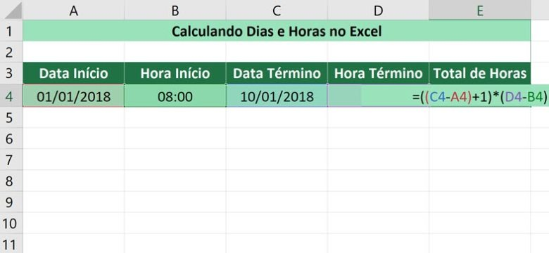 Calculando dias e horas no Excel - Calculando as horas