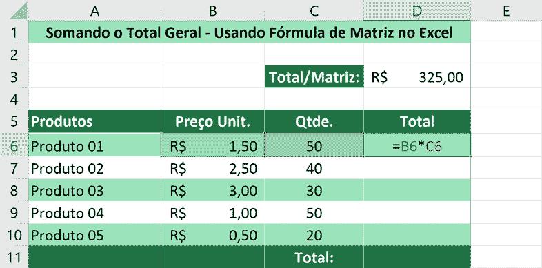 Somando usando fórmula de matriz no Excel - Fórmula Simples