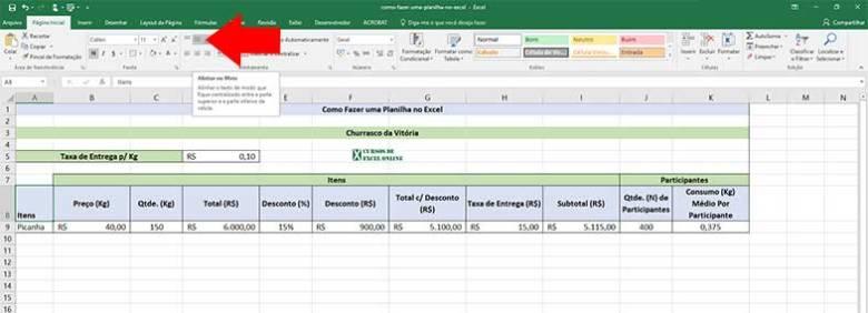 Como fazer uma planilha no Excel | Formatando a planilha