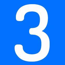 número 3 azul