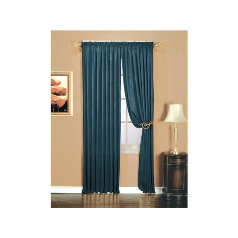 Luxury Crushed Faux Silk Window Panel  Indigo  CurtainDraperycom