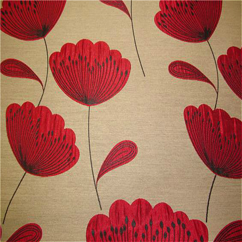 Chess Poppies Curtain Fabric Red Curtain Factory Outlet