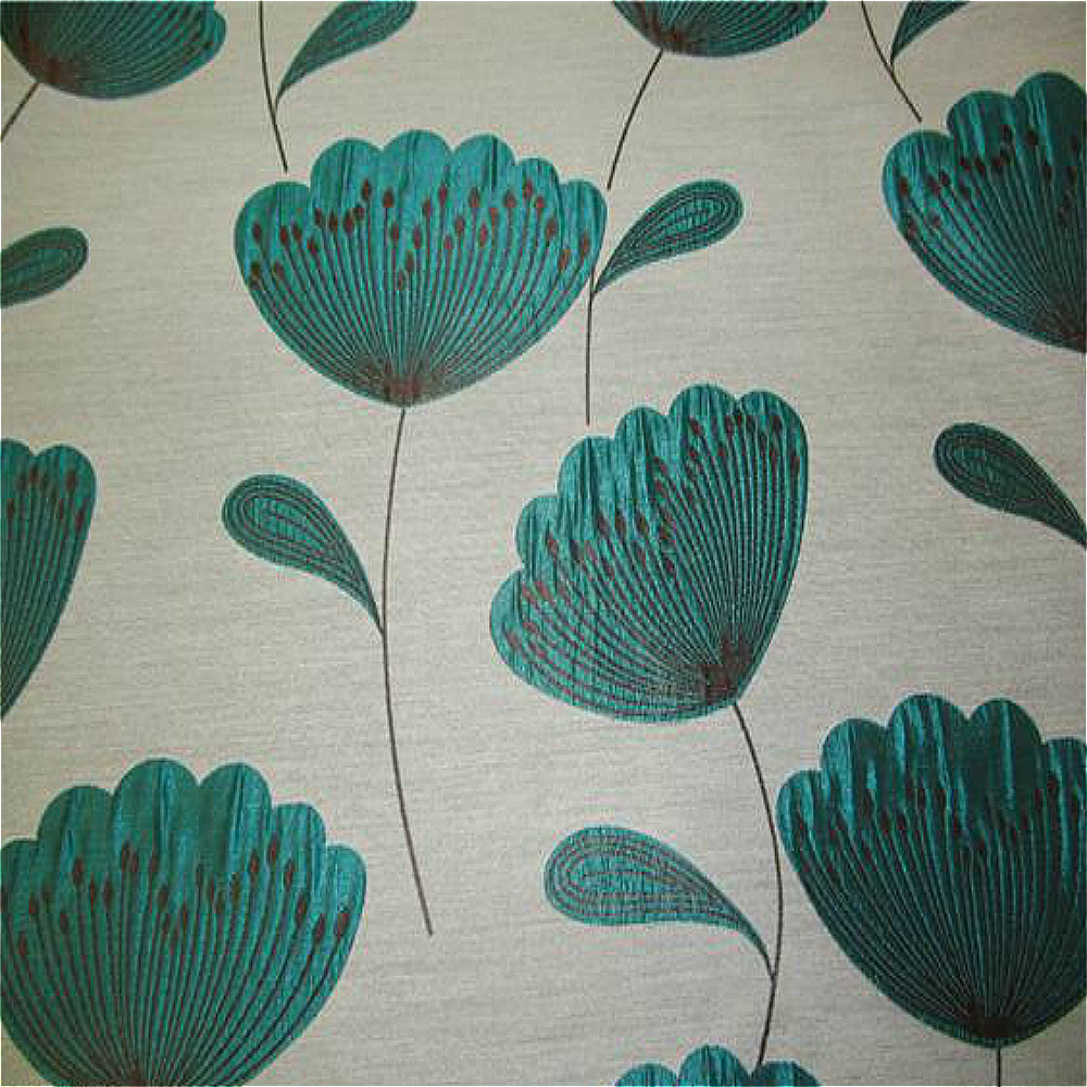 Chess Poppies Curtain Fabric Teal Curtain Factory Outlet