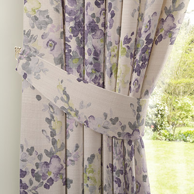 Curtain Watercolour Floral Mauve Next Made To Measure