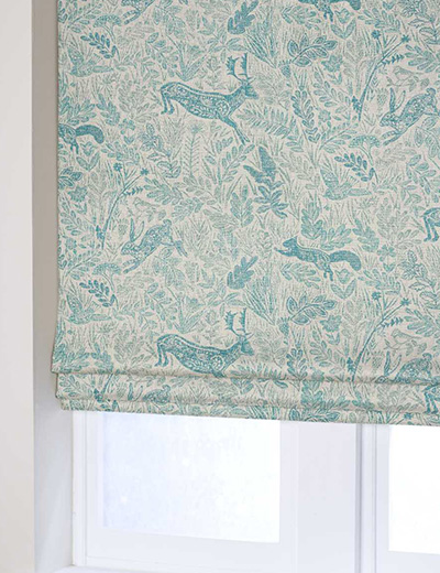 Curtain Folkloric Animal Print Blue Next Made To Measure