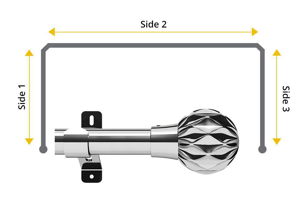 swish 28mm cruzar chrome 3 sided bay window pole