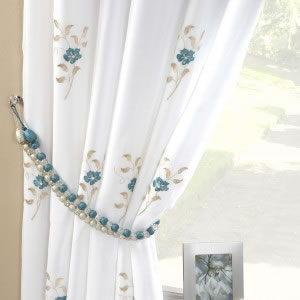 Pair Of Pearls Fully Lined Embroidered Voile Curtains Teal Blue