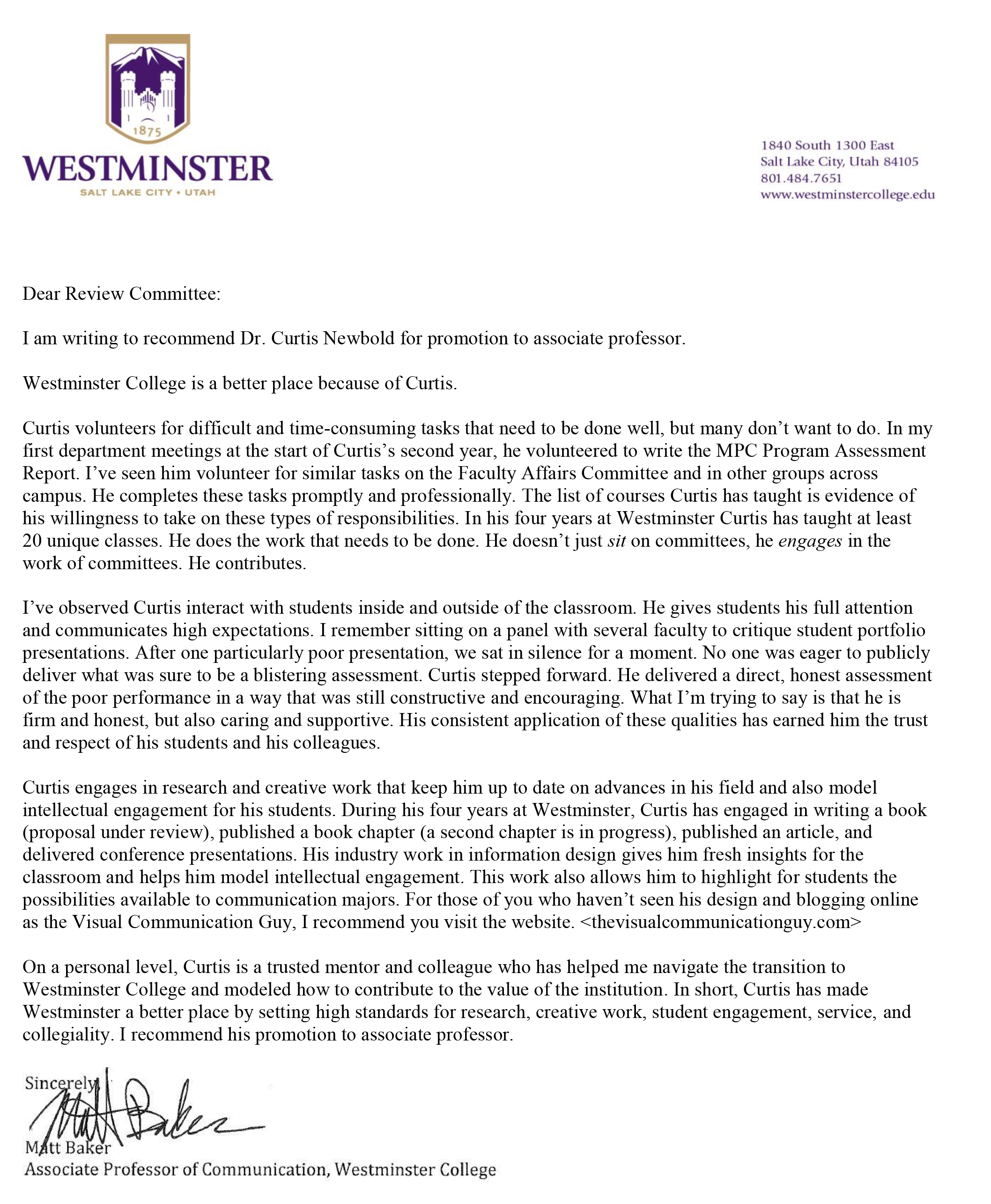 chapman letter of recommendation