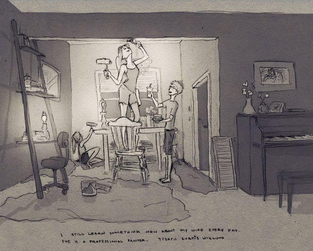 ALL the Self-Portrait illustrations of Curtis and his wife Jordin, by Curtis Wiklund