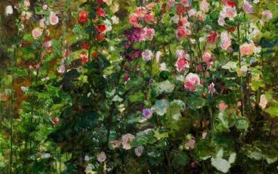 Hillside Hollyhocks