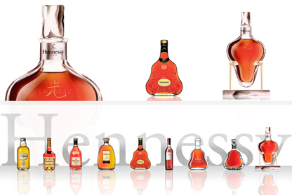 Hennessy Lumiere decanter alongside the Hennessy range