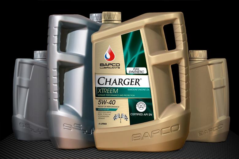Bapco 5, 4 & 1 litre bottle design