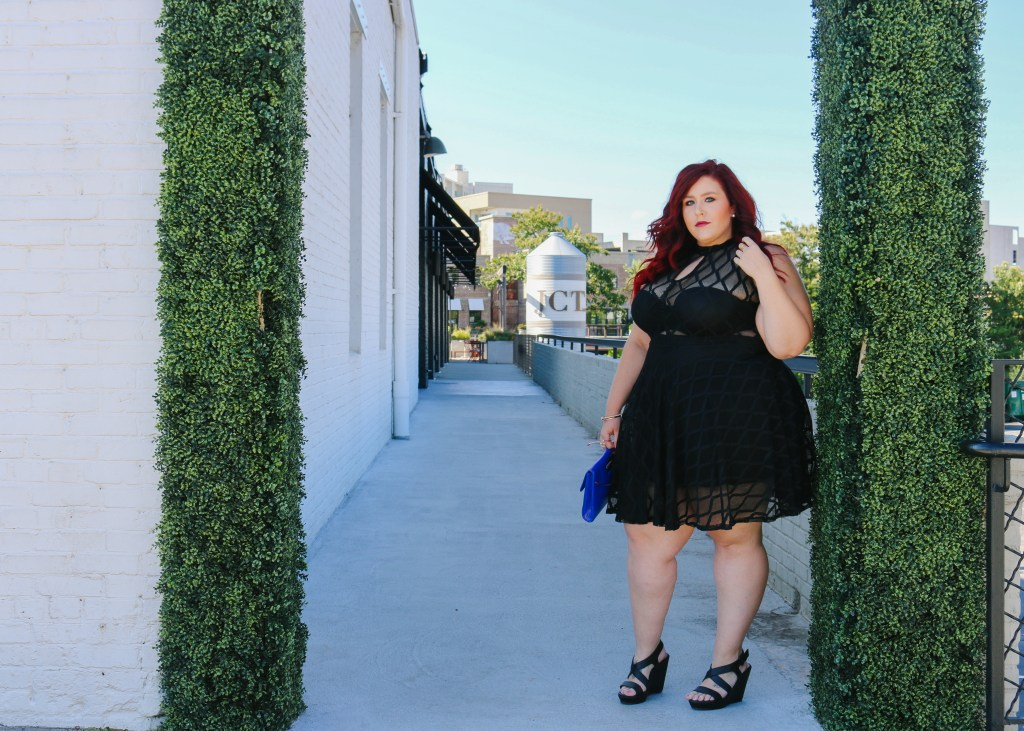Image of Plus Size Geo Pattern Mesh Flare Dress