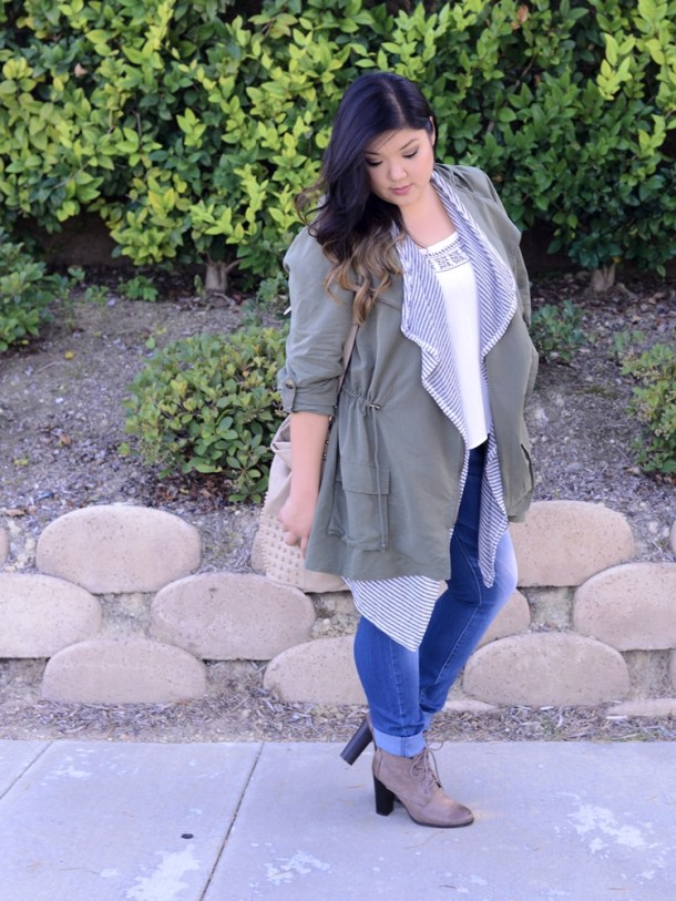 f8bd42e9f43 Curvy Girl Chic Plus Size Fashion Blog Charlotte Russe Anorak Skinny Jeans  Lace Up Boots