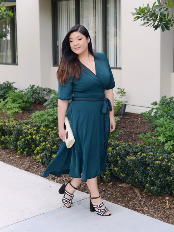 9a402861c6c Curvy Girl Chic Plus Size Fashion Blog Teal ELOQUII Wrap Dress