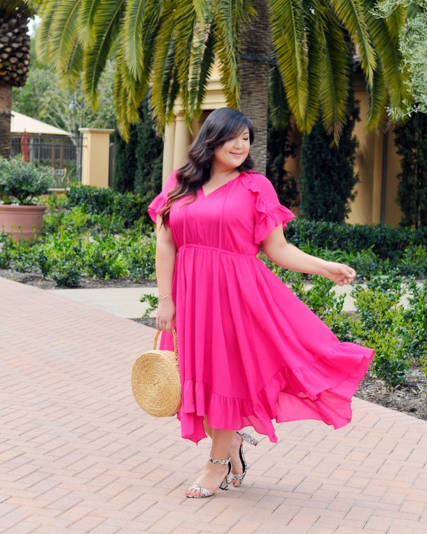 40808f84e3e Curvy Girl Chic Plus Size Fashion Blog Lane Bryant Plus Size Dress Pink  Ruffles