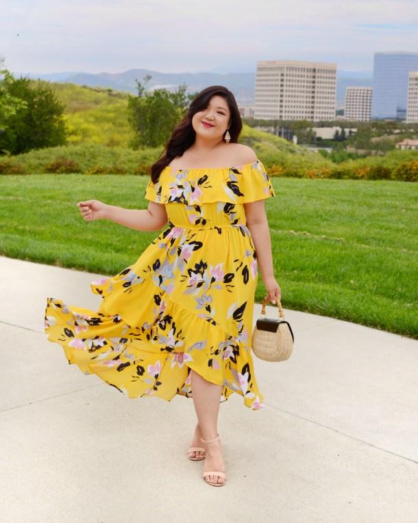 c02dd4170825 Curvy Girl Chic Plus Size Fashion Blog Lane Bryant Summer Kickoff Party  Yellow Printed Ruffle Off