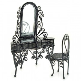 White Victorian Wire Bedroom Bed Dollhouse Furniture