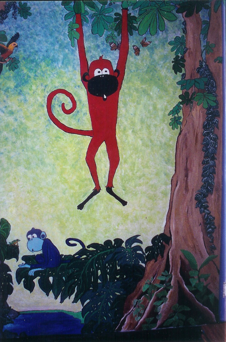 cush art studio painted murals monkey wall mural