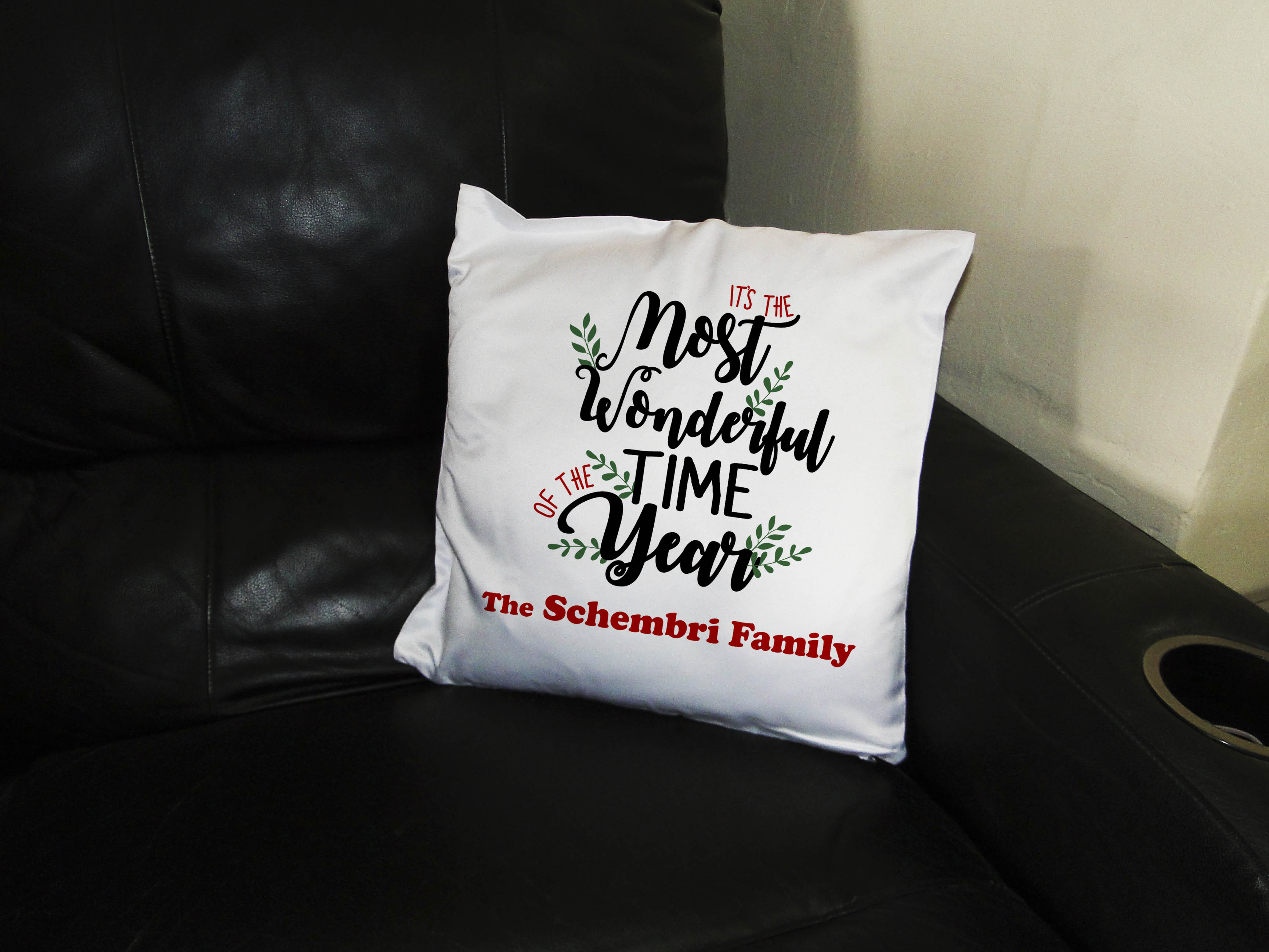 personalized family christmas pillow