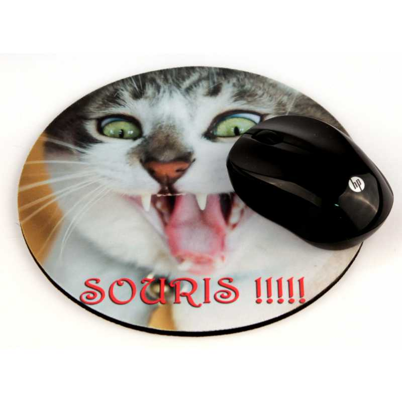 tapis de souris rond personnalise avec vos photos et textes preferes