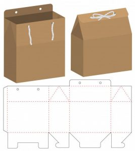 Craft cardboard box container with clear white round label template. Boxes Design Template Download Packaging Box Design Template Free Advice