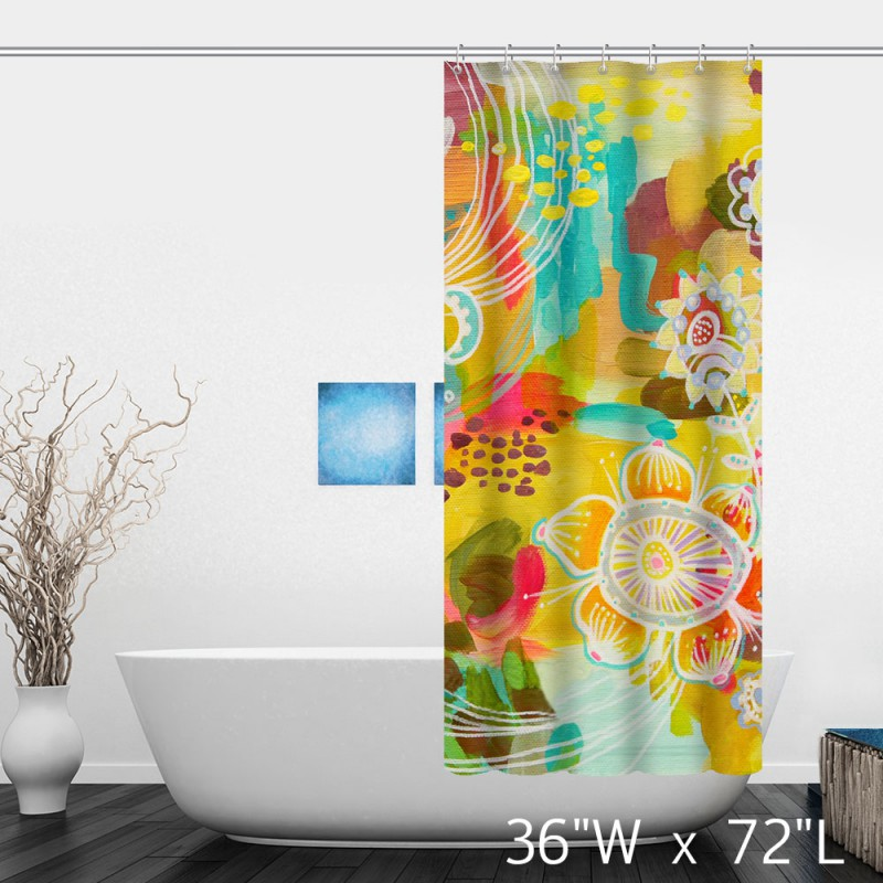 Colorful Watercolor Floral Print Shower Curtain  Custom