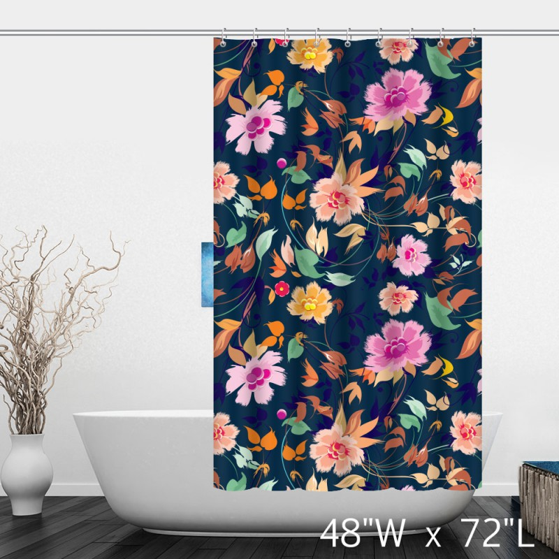 Hand Painted Flower Floral Shower Curtain  Custom Shower