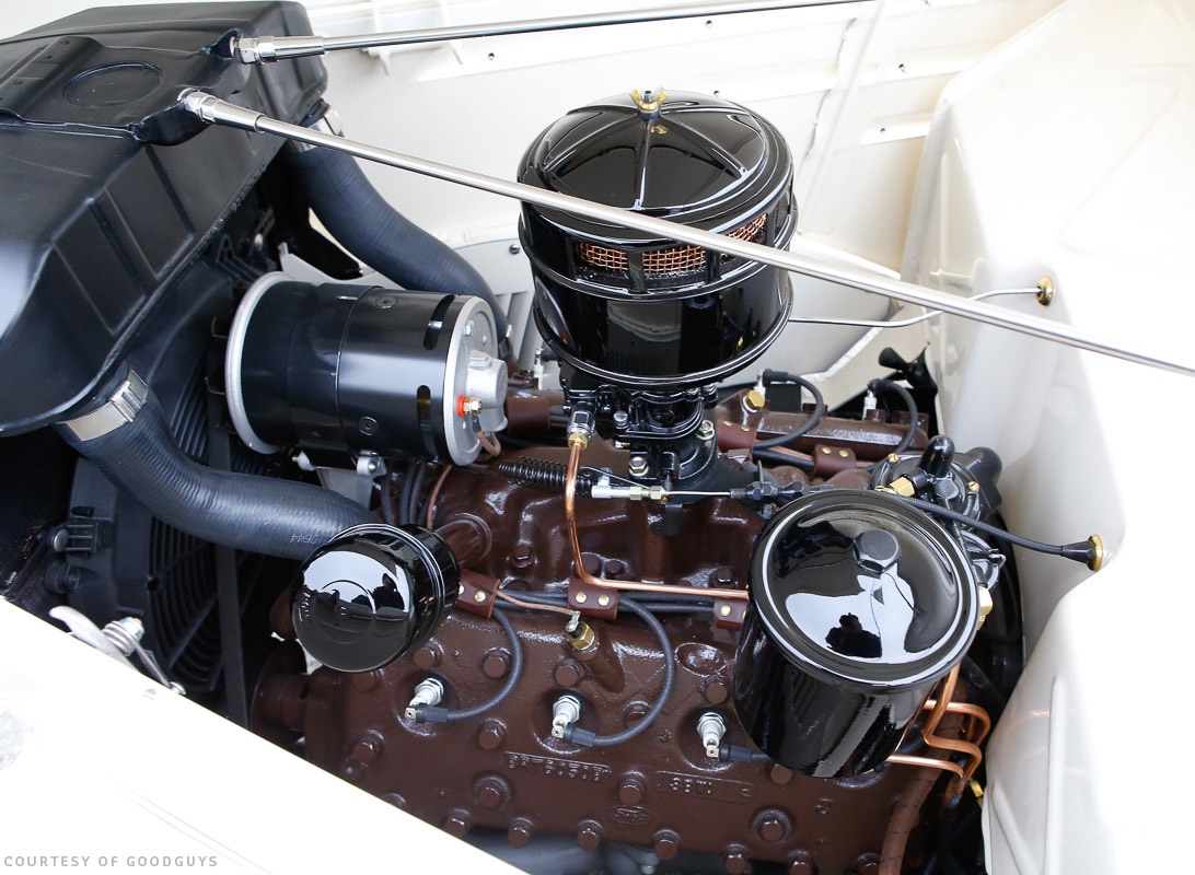 hight resolution of beautifully balanced and restored ford flathead 8ba power gen alternator a single black stromberg custom cloth wiring loom and ignition wires everything