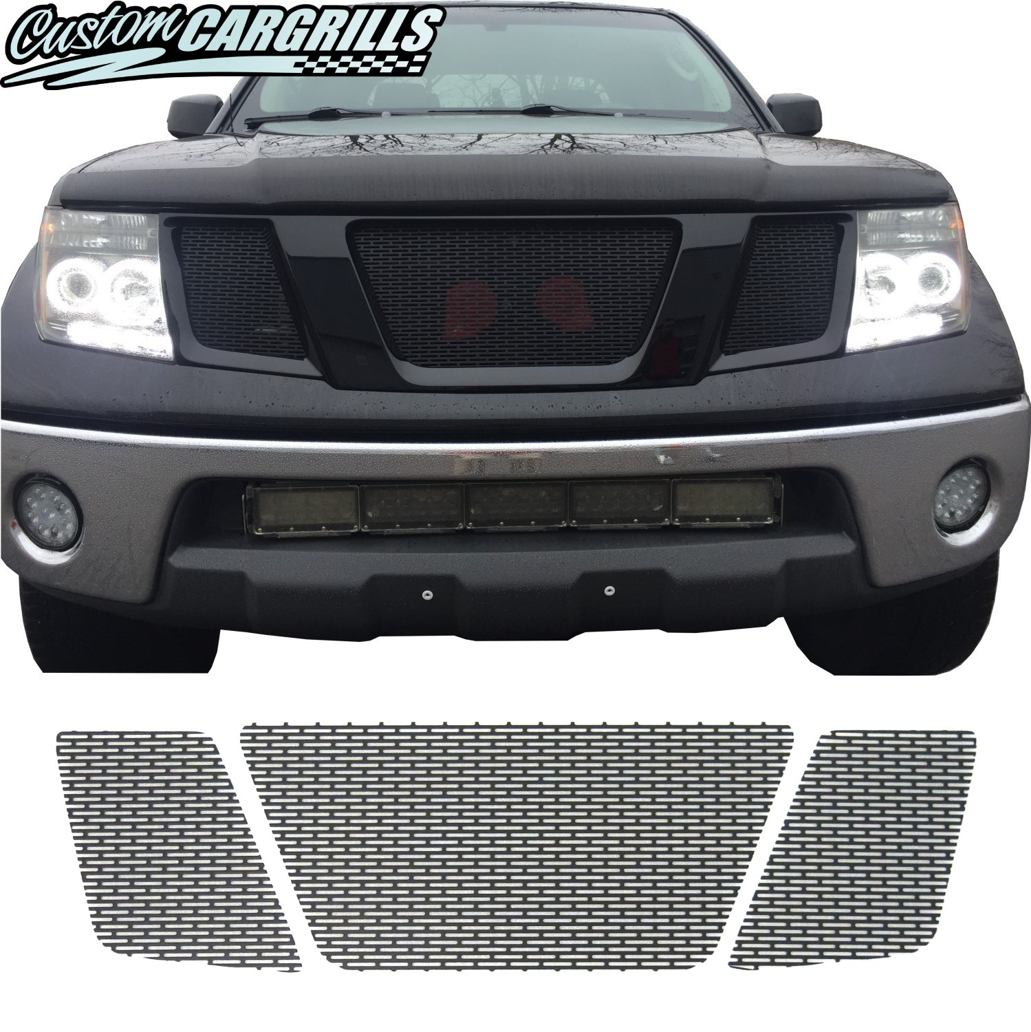 hight resolution of 2005 2008 nissan frontier mesh grill set tap to expand