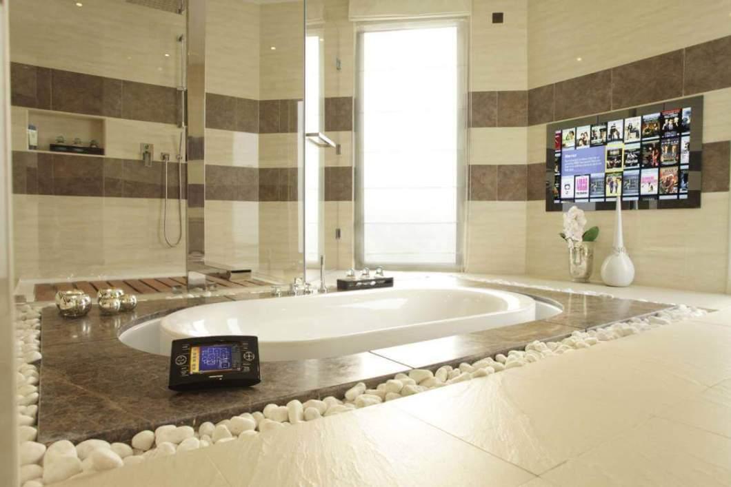 Crestron Touchpanel in Dubai with Agath Mirror TV