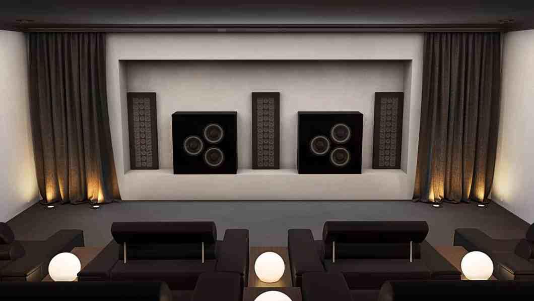 Home Cinema Speakers Installed in void behind screen