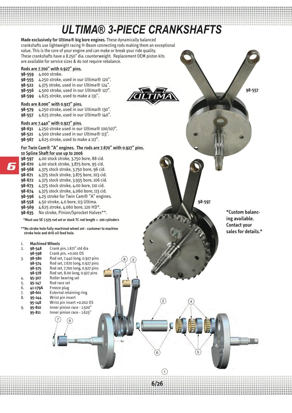 medium resolution of ultima crank assy 4 00 twin cam a 88ci midwest 98 597 harley davidson 88ci engine diagram