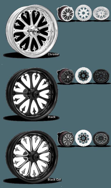 Xtreme Machine Stiletto Wheel In Chrome, Black and Black