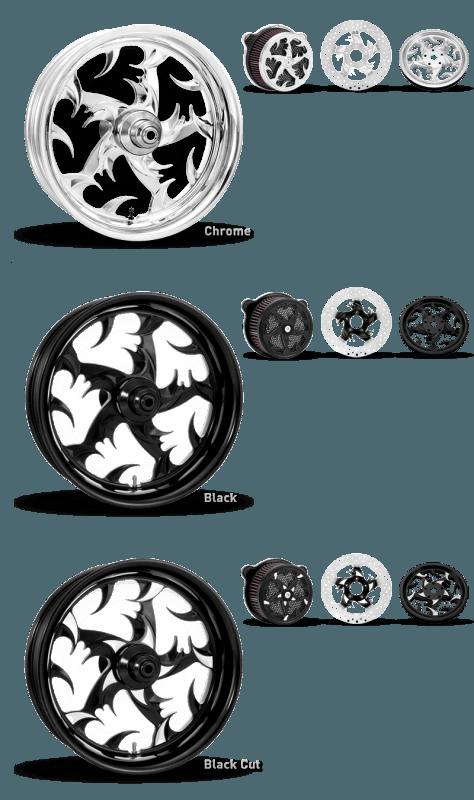 Xtreme Machine Talon Wheel In Chrome, Black and Black Cut