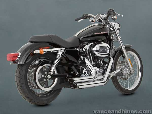 harley davidson sportster vance hines shortshots staggered exhaust 1 75 dia 04 up