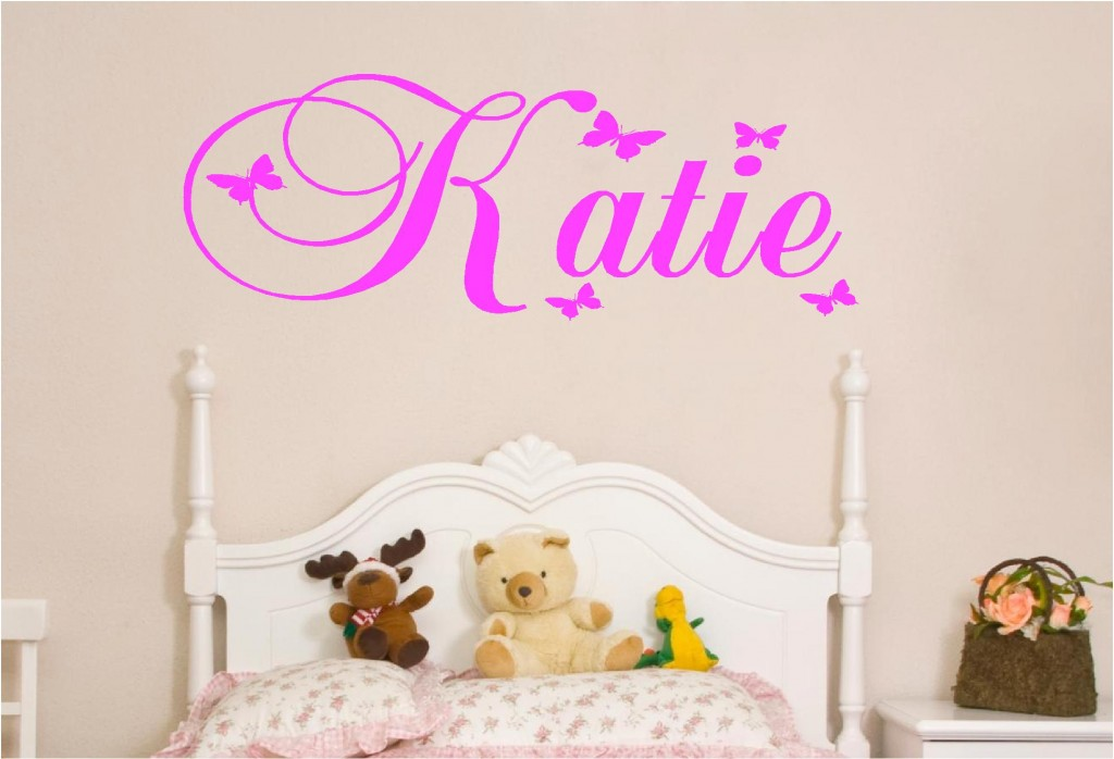 PERSONALISED KIDS NAMES IN BUTTERFLY VINYL WALL ART